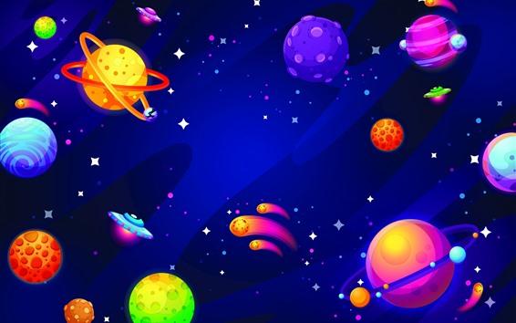 Fondos de pantalla Cuadro creativo, planetas coloridos, universo.