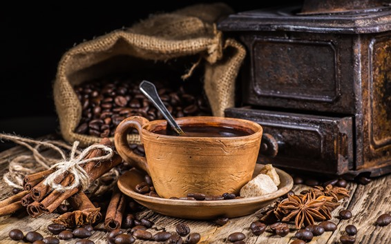 Wallpaper Cup, coffee, coffee beans, star anise