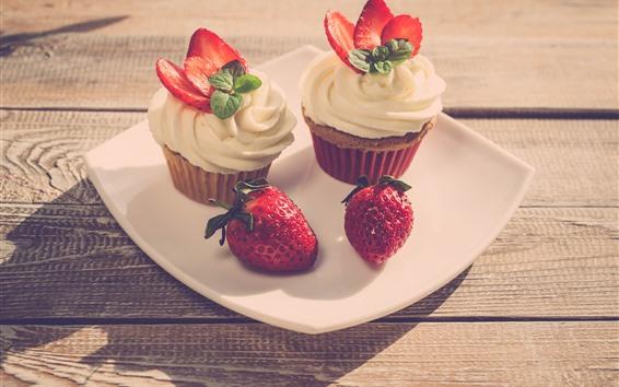 Wallpaper Cupcakes, cream, strawberry, dessert