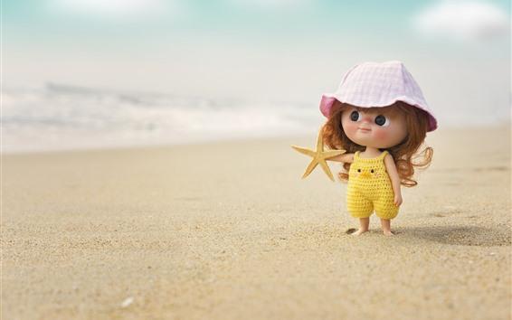 壁紙 かわいい女の子、子供、人形、ビーチ