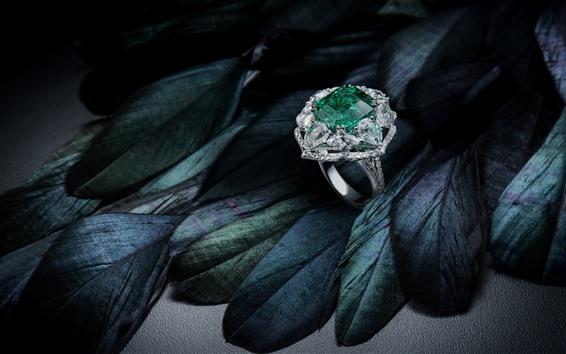 Обои Бриллиантовое кольцо, перья