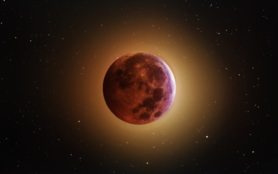 Wallpaper Eclipse, moon, glow