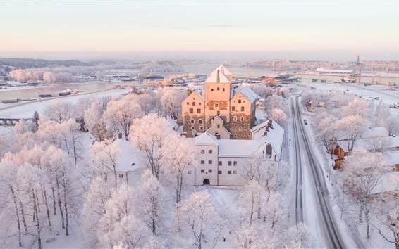 Wallpaper Finland, Turku, city, winter, white snow