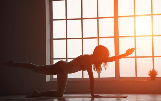Wallpaper Fitness girl, pose, window, backlight, glare