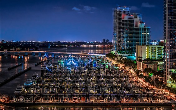 Wallpaper Florida, Miami Beach, yachts, dock, city, night, USA