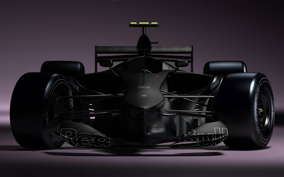 Wallpaper Formula 1 race car, black, front view