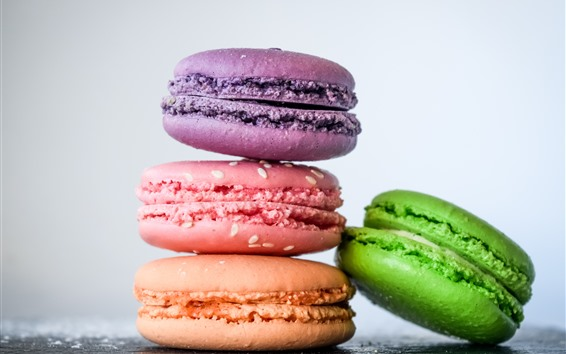 Wallpaper Four macaroons, colorful, cakes