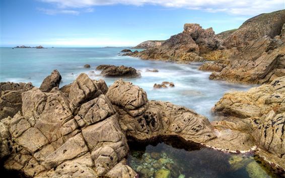 Papéis de Parede França, brittany, pedras, mar