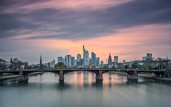 Wallpaper Frankfurt am Main, bridge, river, city, skyscrapers, Germany