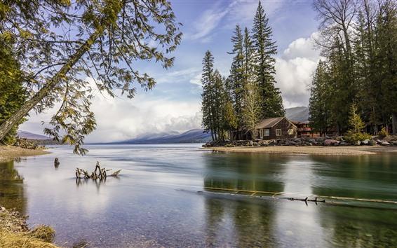 Fondos de pantalla Parque Nacional Glacier, lago, árboles, casa, Estados Unidos
