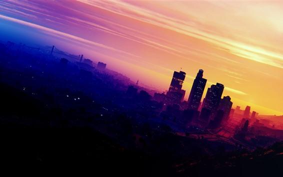 Fondos de pantalla Grand Theft Auto V, moto, ciudad