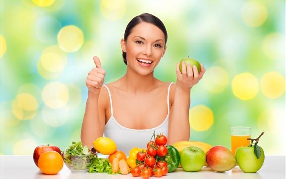 Wallpaper Happy girl, fruits, apple, lemon, orange, pepper