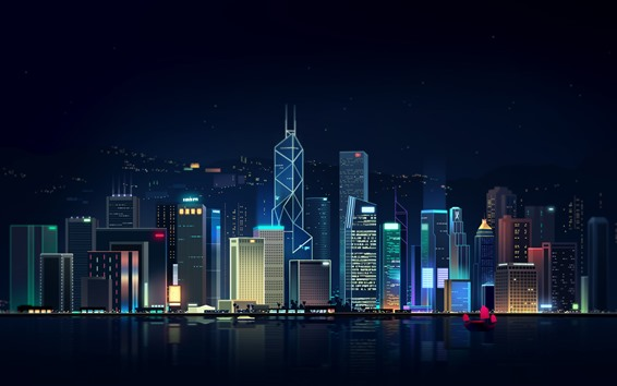 Wallpaper Hong Kong, city night, skyscrapers, art picture