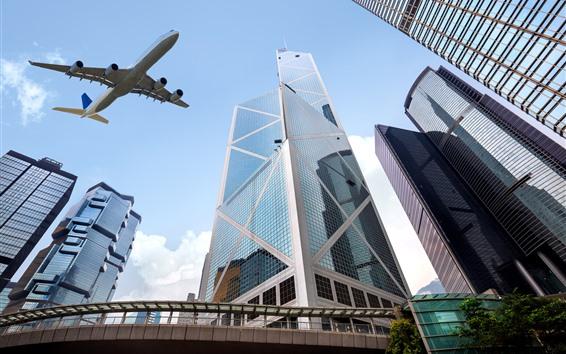 Wallpaper Hong Kong, skyscrapers, airplane
