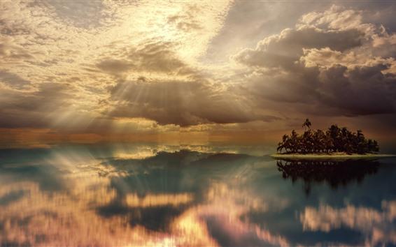 Обои Остров, море, пальмы, небо, облака, солнечные лучи, отражение воды