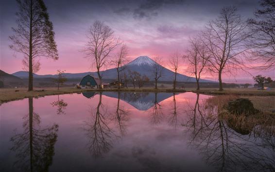 Wallpaper Japan, Fuji Mountain, lake, water reflection, trees, glow, morning