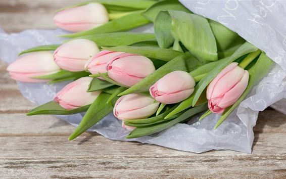Wallpaper Light pink tulips, bouquet