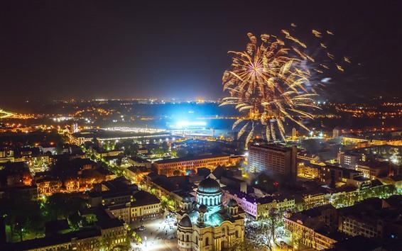 Wallpaper Lithuania, Kaunas, fireworks, night, city, lights