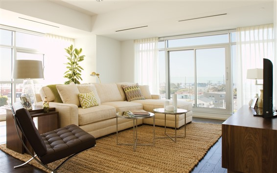 Wallpaper Living room, sofa, chair, window