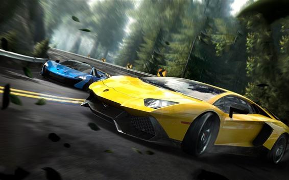 Обои Need For Speed, Lamborghini желтый суперкар
