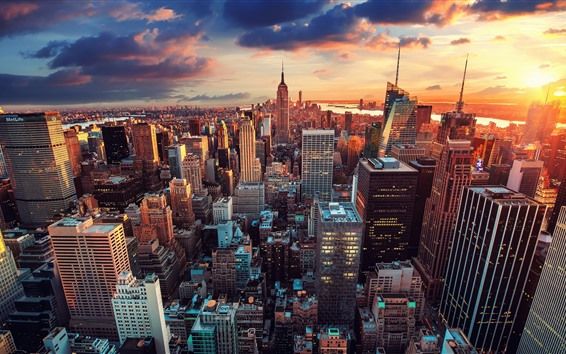 Wallpaper New York, Manhattan, city, skyscrapers, sunset, USA