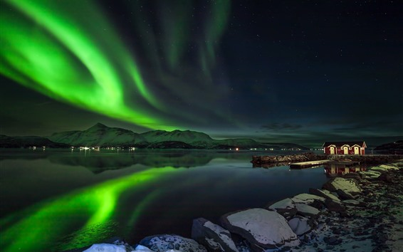 배경 화면 노던 라이트, 아름다운 야경, 노르웨이, 호수, 산, 별, 오두막
