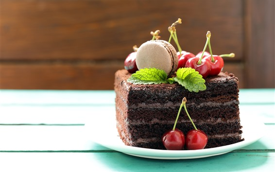 Fond d'écran Un morceau de gâteau au chocolat, cerises
