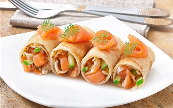 Wallpaper Pancake, roll, breakfast