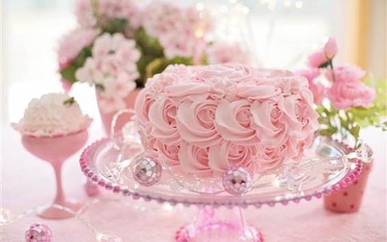 Wallpaper Pink roses, cake, romantic