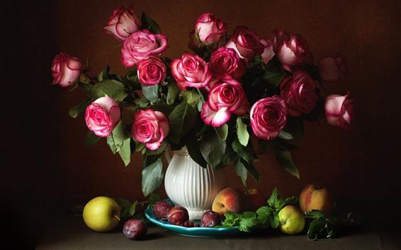 Papéis de Parede Rosas cor de rosa, vaso, pêssego
