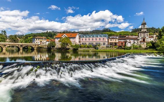 Fondos de pantalla Portugal, puente, río, arroyo, casas, ciudad