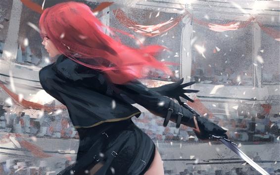 Wallpaper Red hair fantasy girl, back view, sword, wind