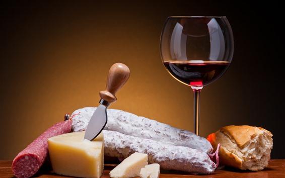 배경 화면 레드 와인, 치즈, 칼, 빵, 소시지