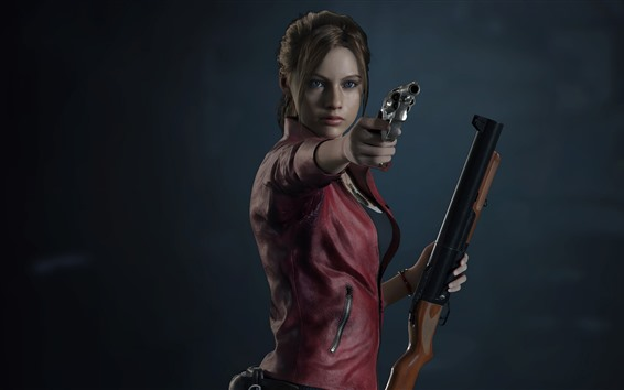 Wallpaper Resident Evil 2, girl, gun