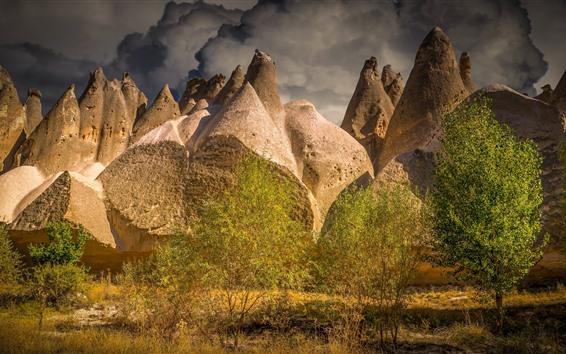 壁紙 岩山、木、雲