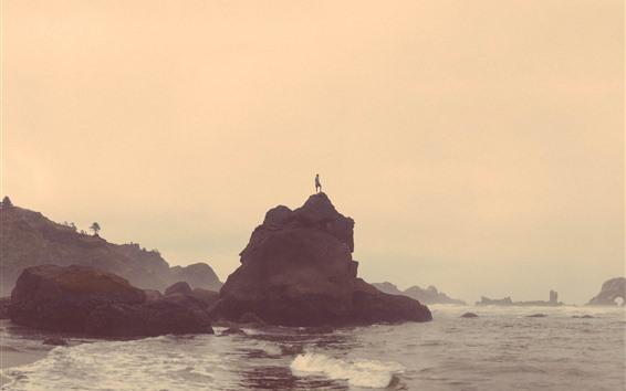Fond d'écran Roches, mer, homme, matin, brouillard