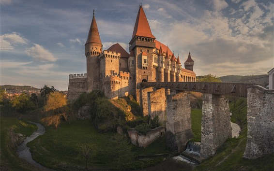 Wallpaper Romania, Transylvania, castle, bridge, river, dusk