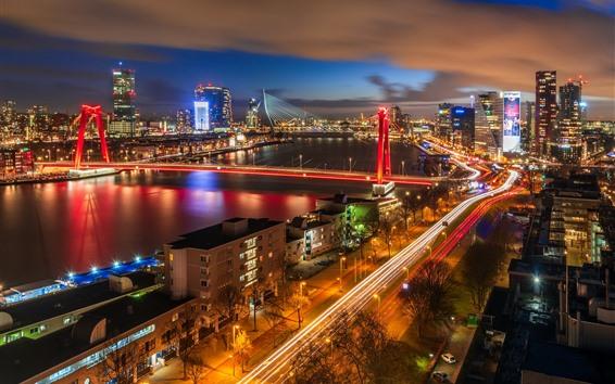 Wallpaper Rotterdam, Netherlands, city night, bridge, buildings, illumination