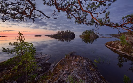 Wallpaper Russia, Lake Ladoga, trees, islands, dusk