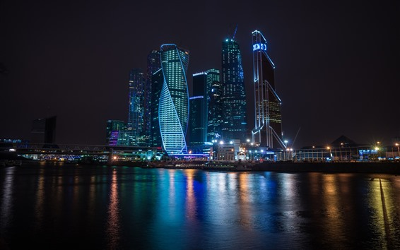 Wallpaper Russia, Moscow, skyscrapers, night, river, lights