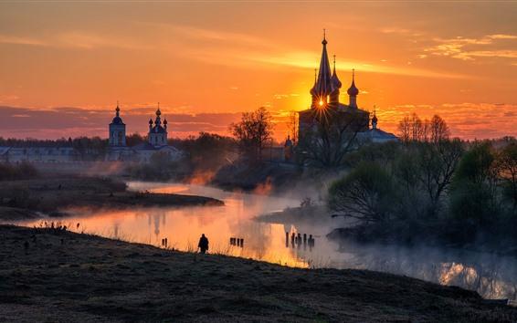 Papéis de Parede Rússia, vila, igreja, rio, nevoeiro, manhã