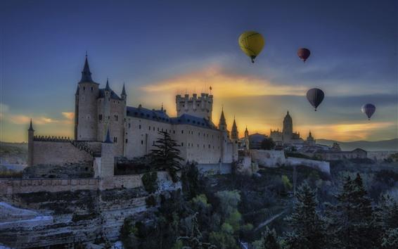 Wallpaper Spain, Segovia, Castile and Leon, castle, trees, hot air balloon, dusk