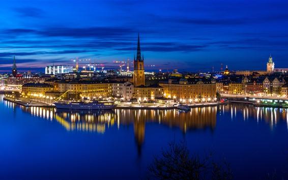 Fondos de pantalla Estocolmo, Suecia, ciudad, noche, río, barco, luces