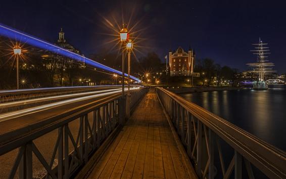 Wallpaper Stockholm, Sweden, night, city, lights, river, bridge