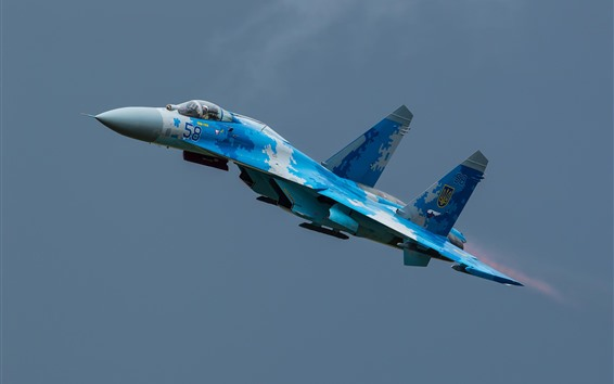 Wallpaper Su-27 fighter, flight, sky, aircraft