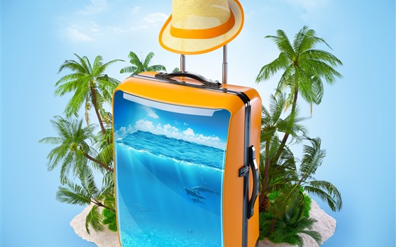 Wallpaper Suitcase, sea, fish, palm trees, tropical, creative picture