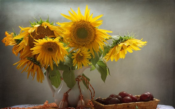 Wallpaper Sunflowers, grapes