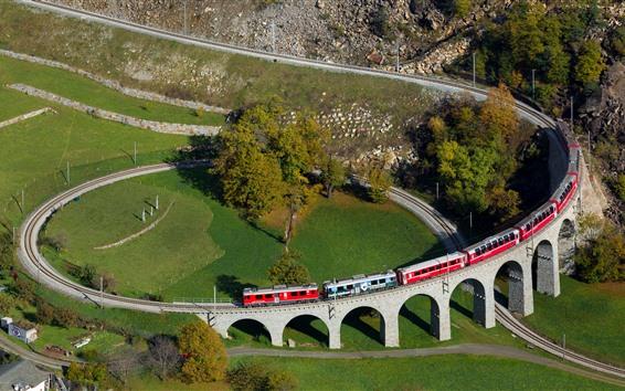 Wallpaper Switzerland, spiral viaduct, train, village