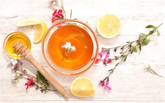 배경 화면 차, 꽃, 레몬, 꿀