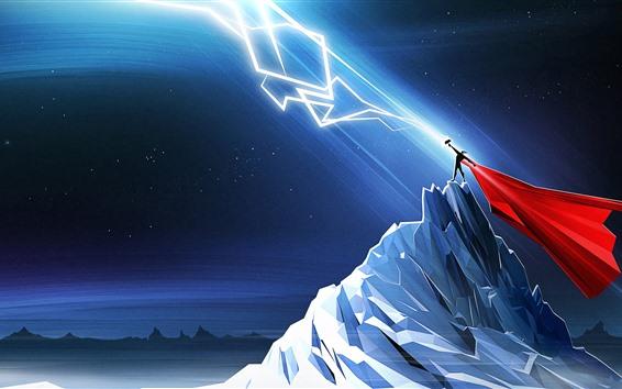 Fondos de pantalla Thor, relámpago, montañas, noche, imagen artística.